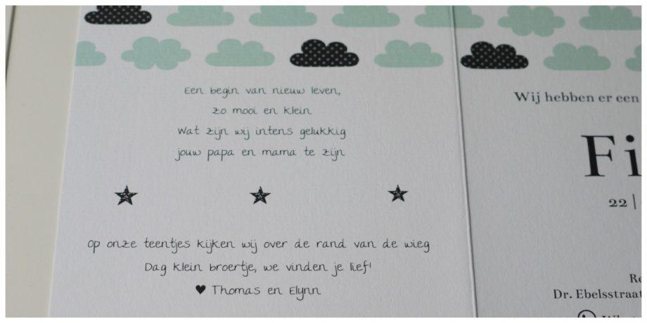 Het geboortekaartje van Finn
