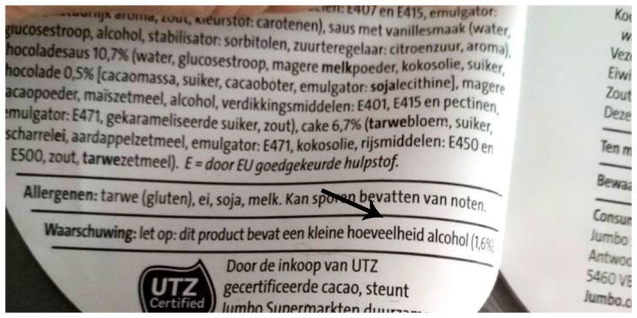 Verborgen alcohol in toetjes Jumbo
