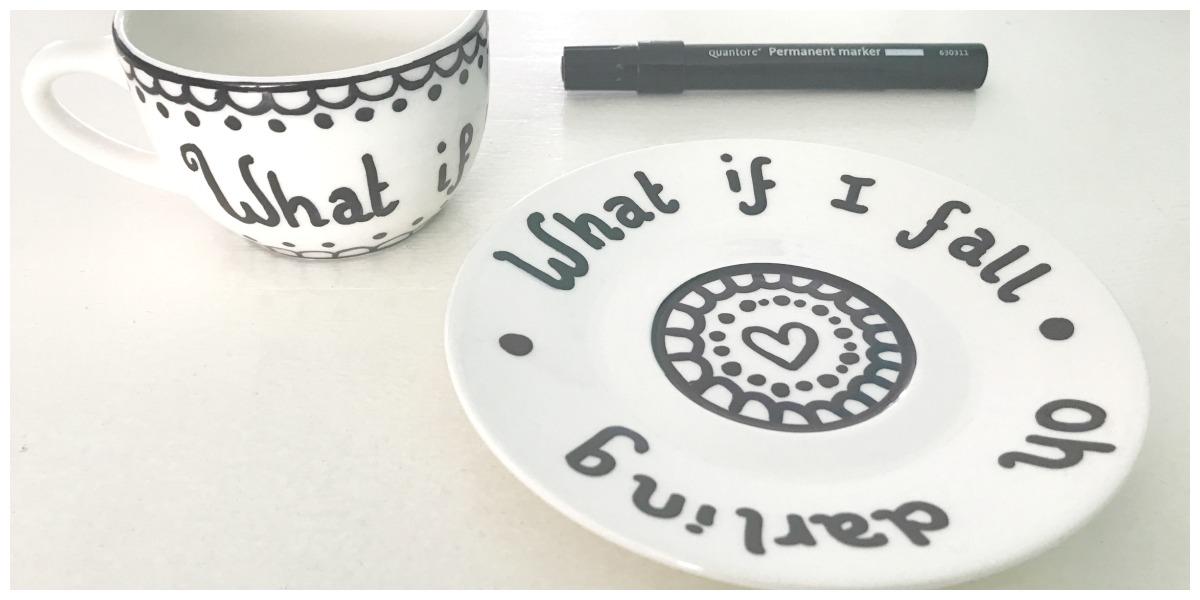 Porselein versieren met permanent marker