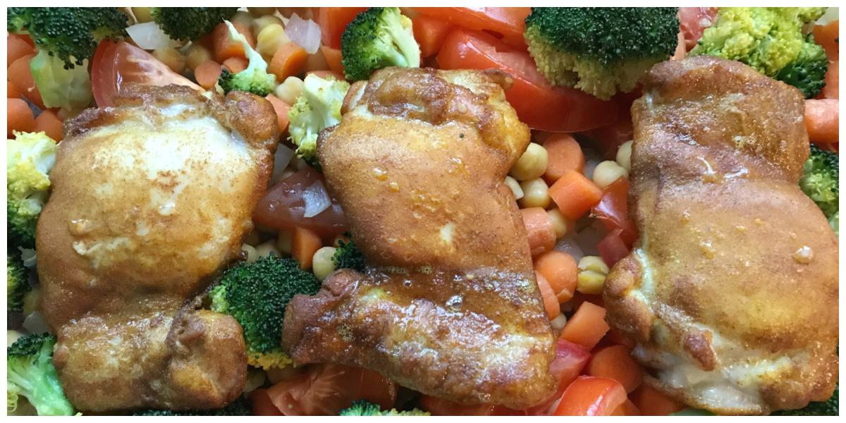Ovenschotel met kip, Vadouvan en groente