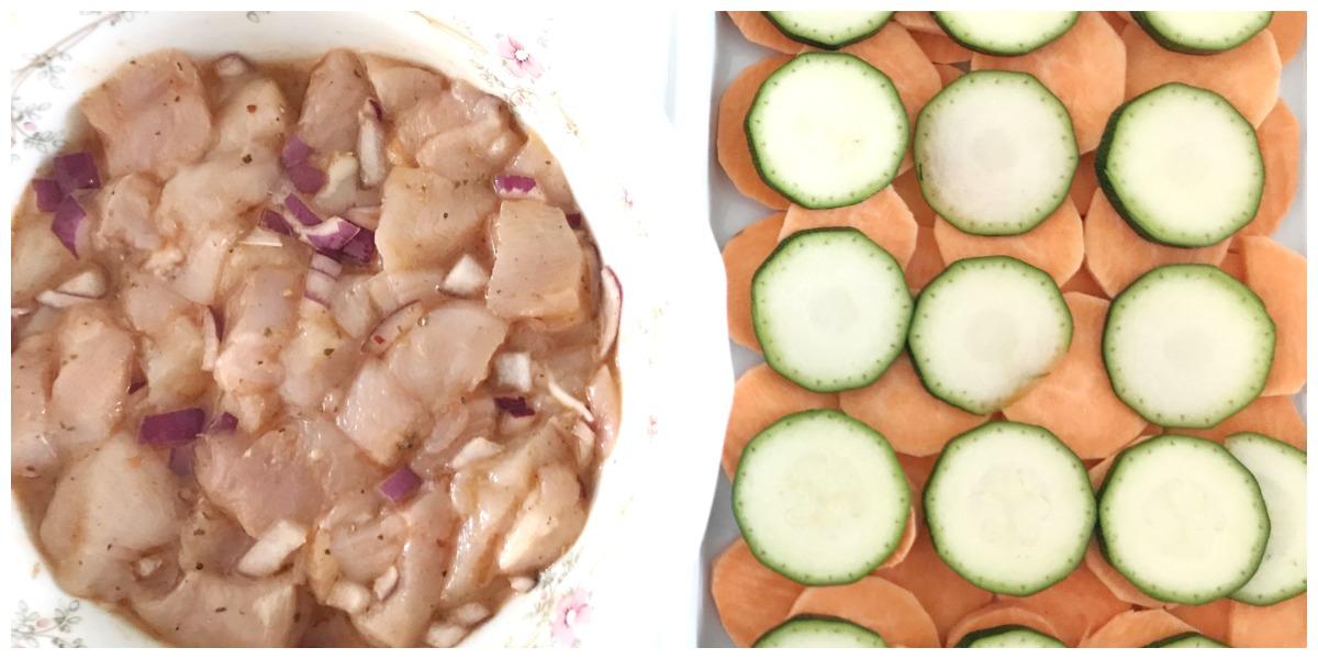 Zoete aardappel lasagne met geitenkaas en walnoot