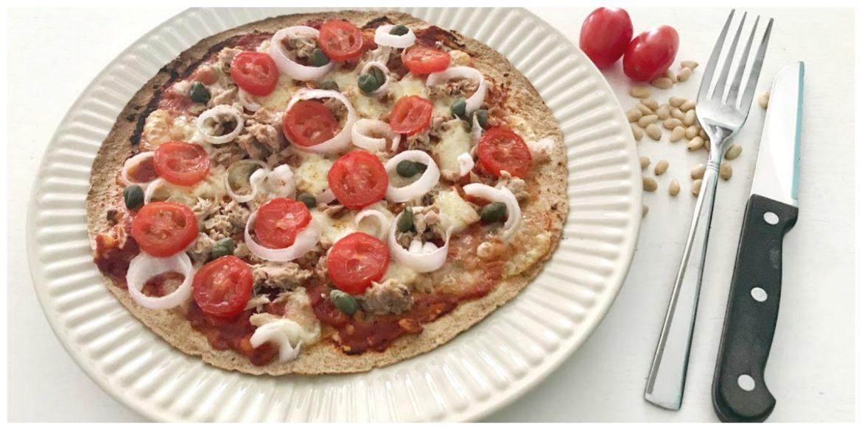 Wrap pizza Tonijn, mozzarella, uien en tomaatjes