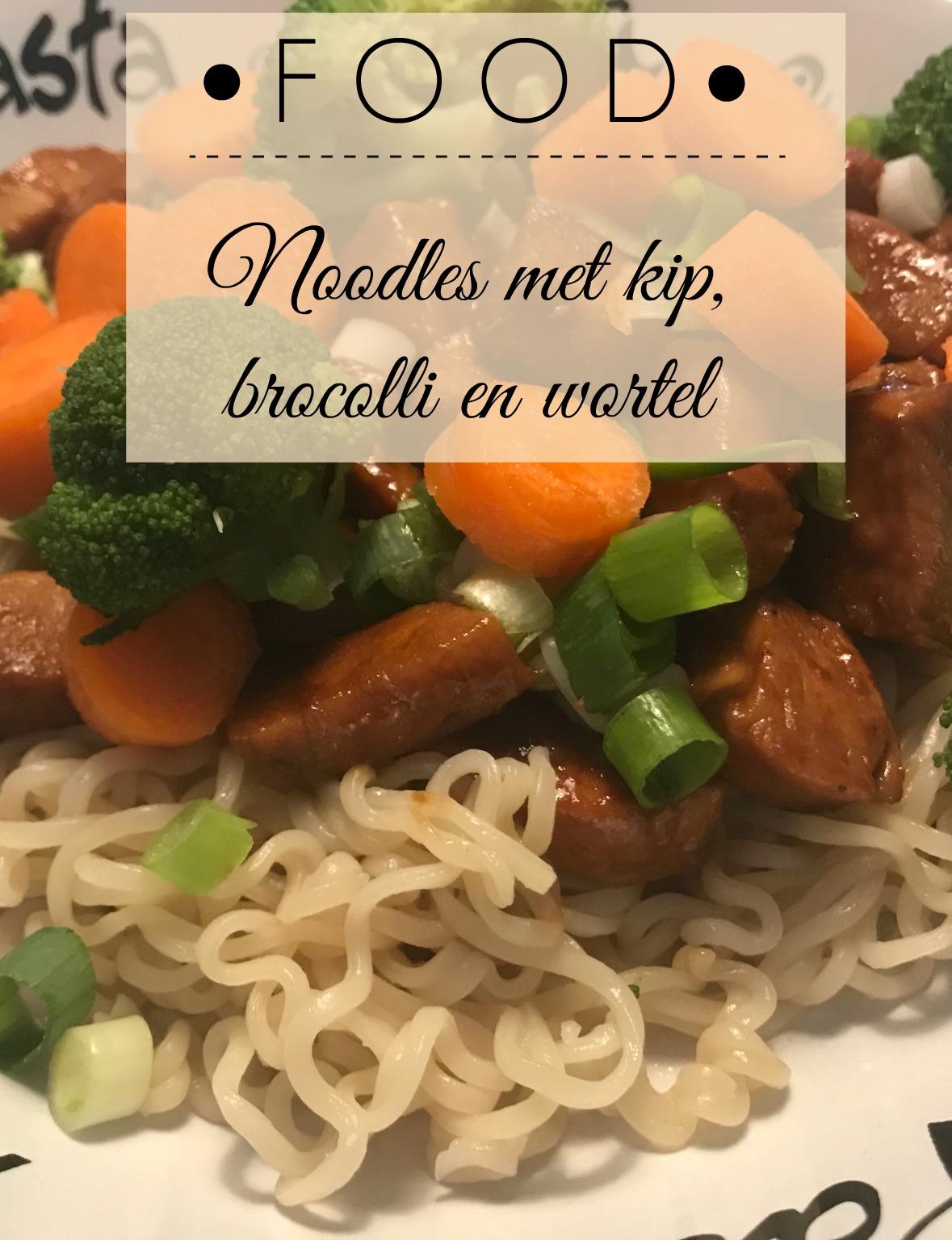 Noodles met kip, brocolli en wortel