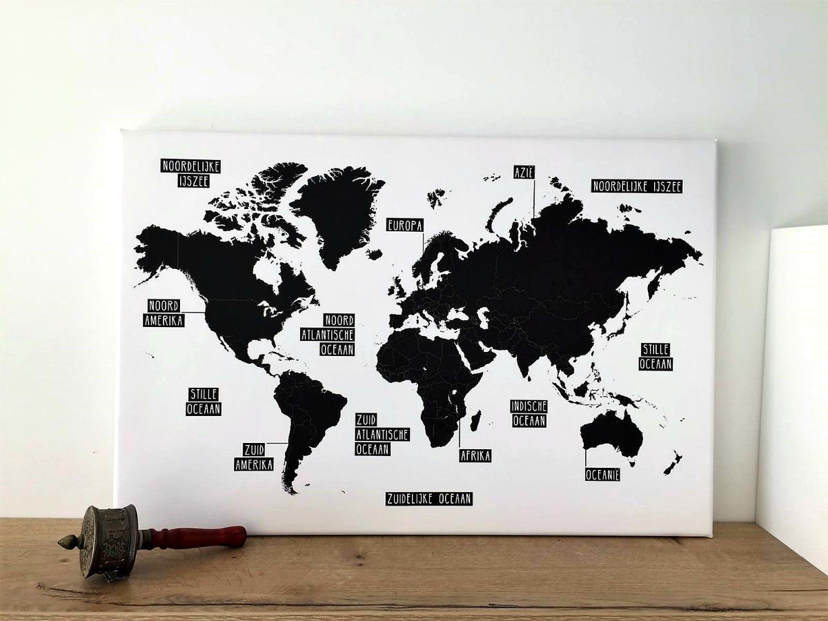 Reisthema kinderkamer wereldkaart op canvas