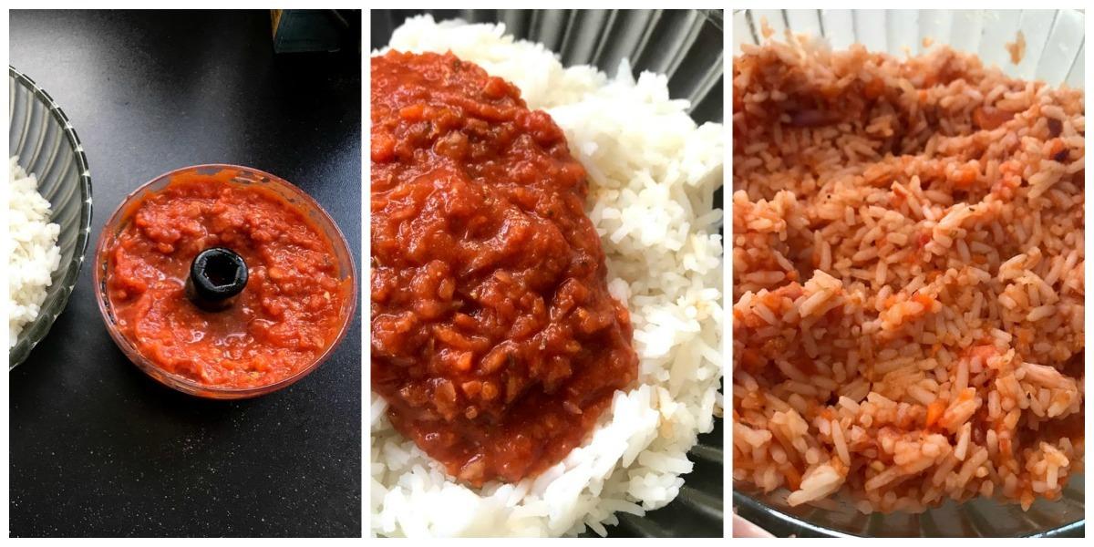 Rode rijst met gehaktballetjes, gepelde tomaten