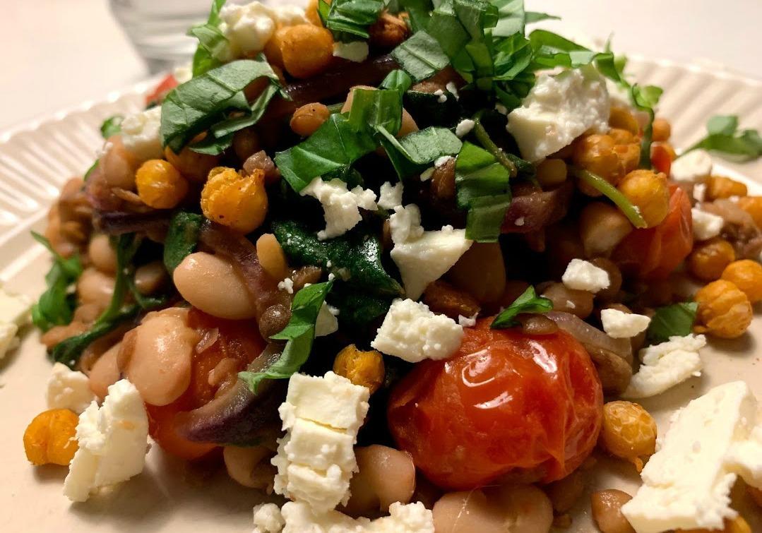 Salade met feta en linzen