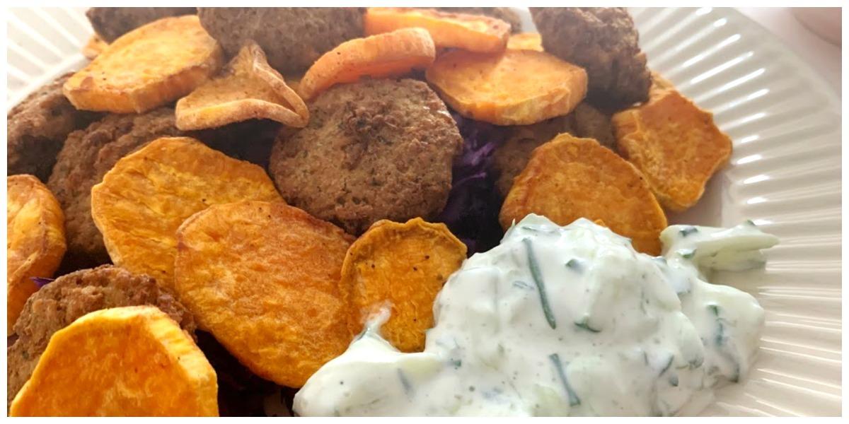 Zoete aardappels, falafal en rode kool