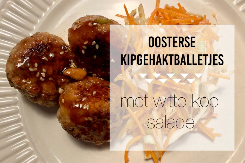 Oosterse kipgehaktballetjes met witte kool salade