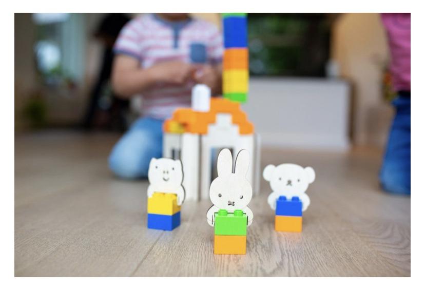 Brikkon nijntje huis - Houten Speelset Houten speelset inclusief bouwstenen, duurzaam speelgoed