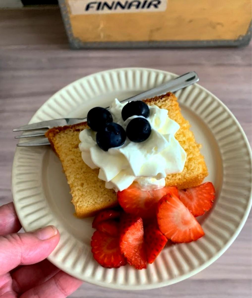 cake aardbeien slagroom blauwe bes