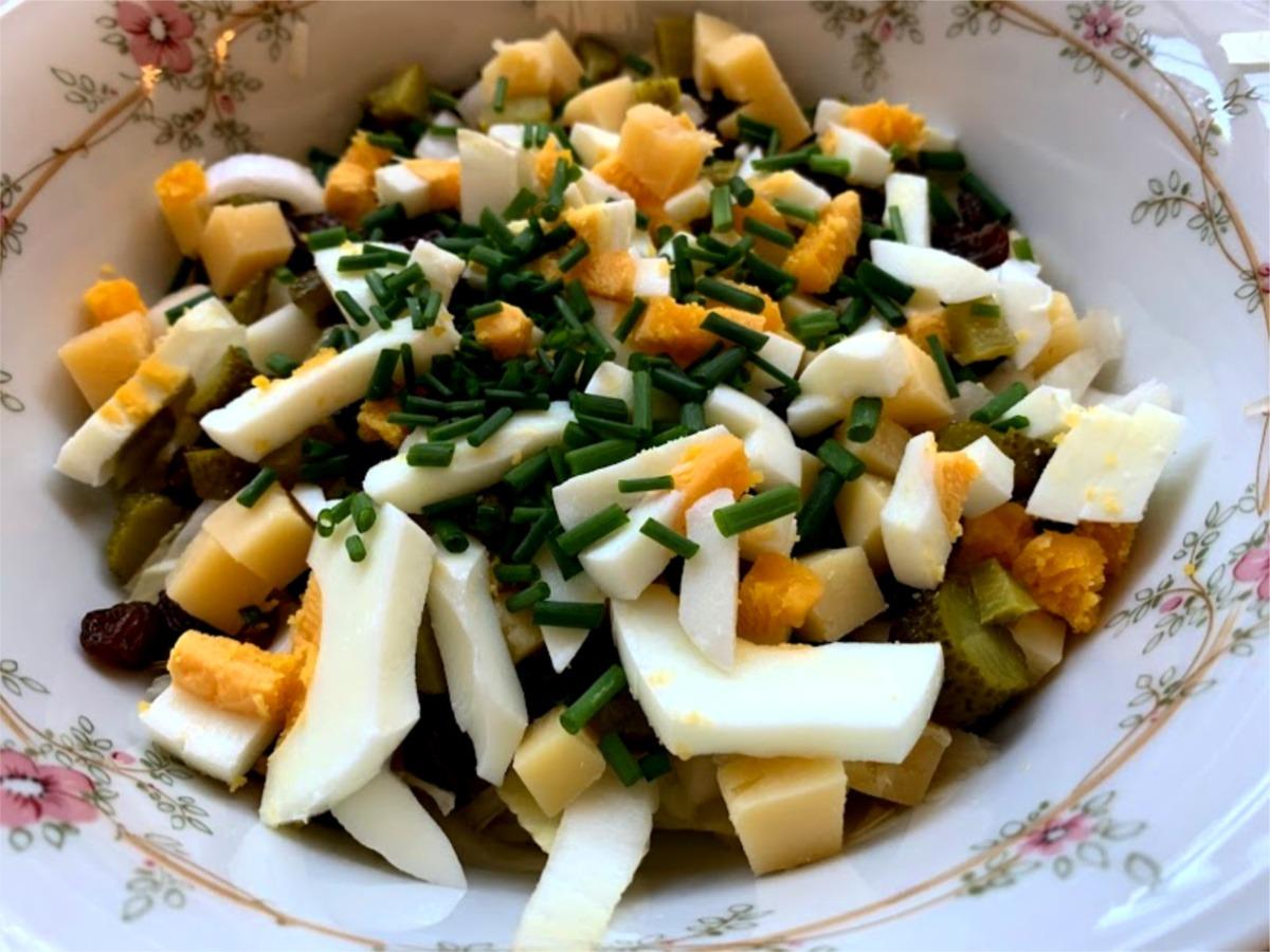 bieslook oude kaas witlof salade